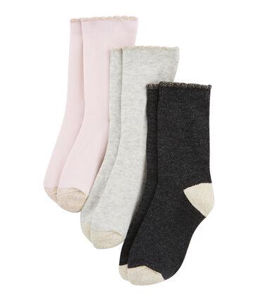 Lot de 3 paires de chaussettes enfant fille lot .