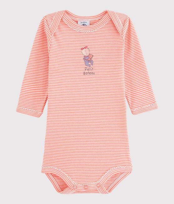 Body manches longues bébé fille rose Peachy / blanc Lait