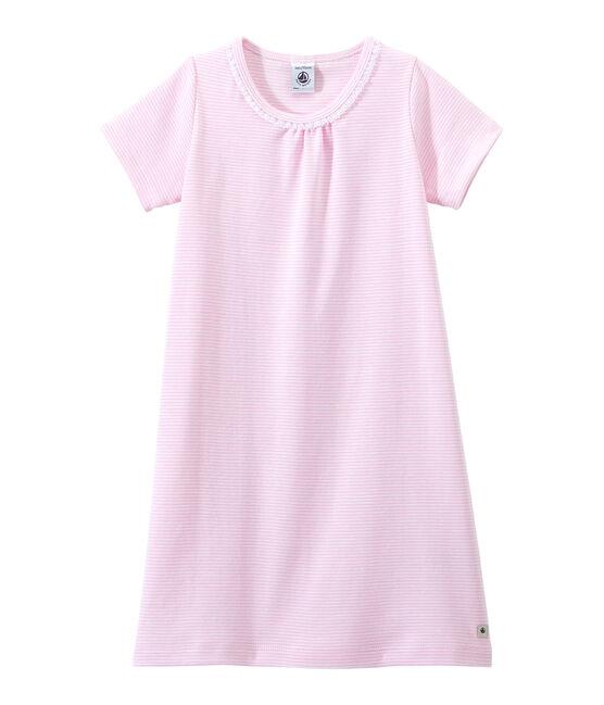 Meisjesnachthemd met milleraies-strepen roze Babylone / wit Ecume
