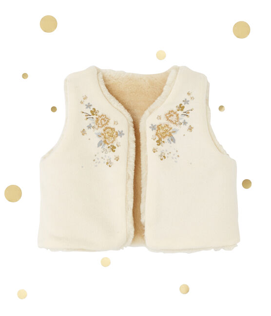 Omkeerbaar mouwloos vest voor babymeisjes beige Coquille