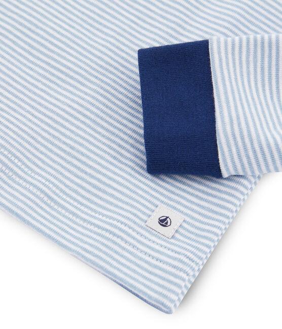 Jongenspyjama met nauwsluitende pasvorm van gebreide stof blauw Acier / wit Marshmallow