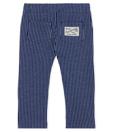 Broek van gestreepte mesh babyjongen blauw Smoking / wit Marshmallow