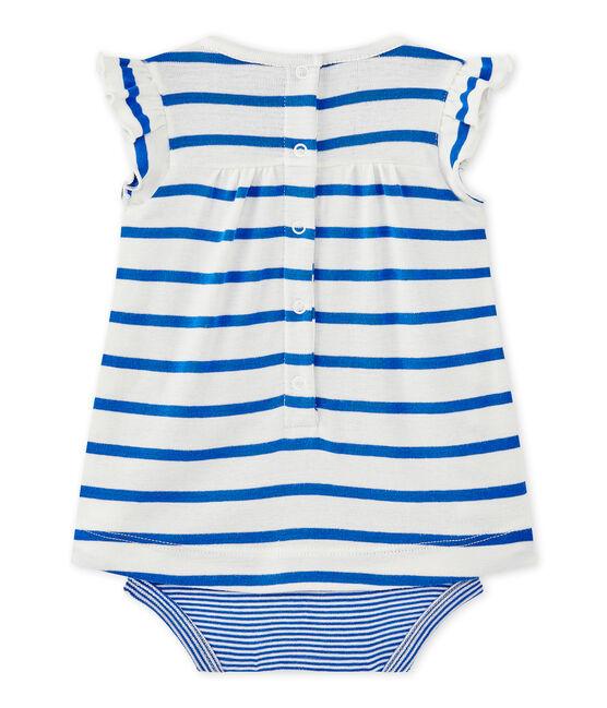 Robe body bébé fille à rayures blanc Marshmallow / bleu Perse