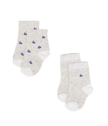 Lot de 2 paires de chaussettes bébé garçon gris Beluga