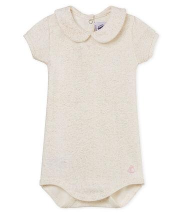 Body met korte mouwen en claudinekraag met glitters voor babymeisjes