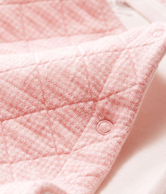 Lang babypakje van gewatteerde tubic roze Charme / wit Marshmallow
