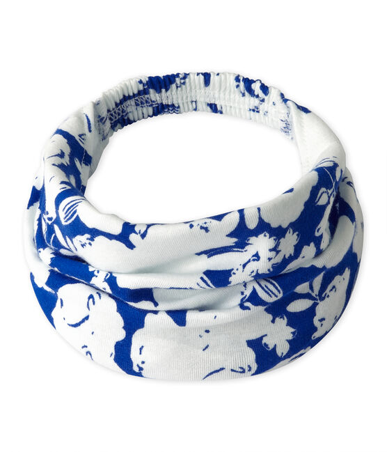 Meisjesbandana met dessin wit Marshmallow / blauw Perse