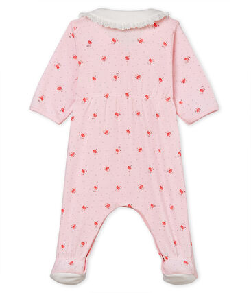 Pyjama van 1x1 ribstof met print voor babymeisjes roze Vienne / wit Multico