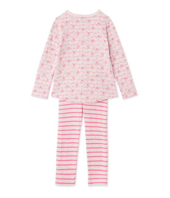 Pyjama fille en tubique réversible rose Vienne / rose Rose