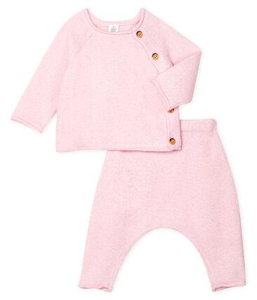 Ensemble deux pièces bébé en coton, laine mérinos et polyester rose Fleur