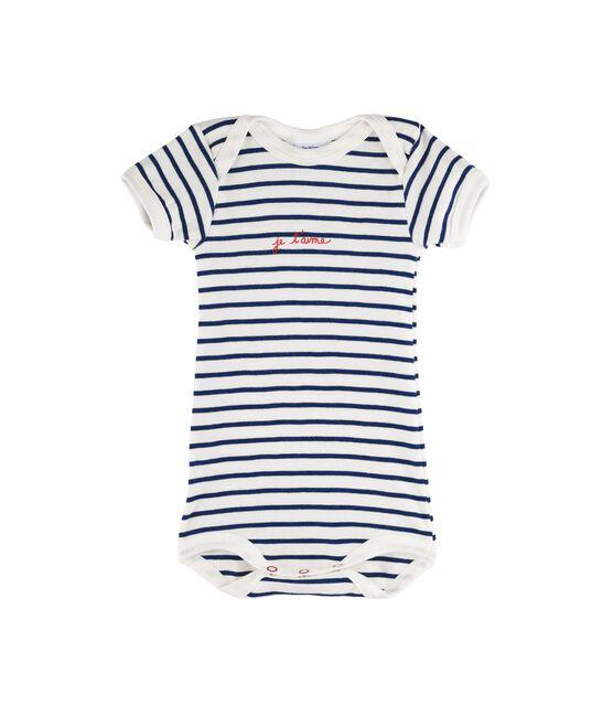 Rompertje met korte mouwen babymeisje - babyjongen wit Marshmallow / blauw Medieval