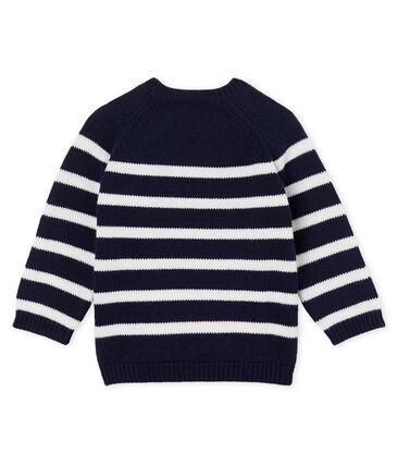 Trui van wol en gestreept katoen babyjongen blauw Smoking / wit Marshmallow