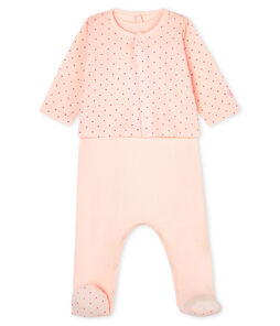 Set van 2 kledingstukken van gebreide stof voor baby's roze Fleur / roze Geisha