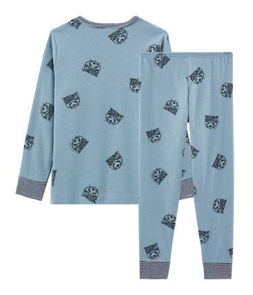 Pyjama petit garçon en côte bleu Acier / blanc Multico
