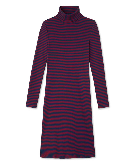 Robe femme rayée à col roulé en coton ultra light rouge Clafouti / bleu Medieval