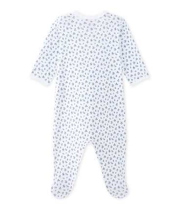 Dors bien bébé fille imprimé blanc Ecume / bleu Bleu