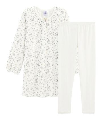 Fluwelen nachthemd voor meisjes, met legging wit Marshmallow / wit Multico