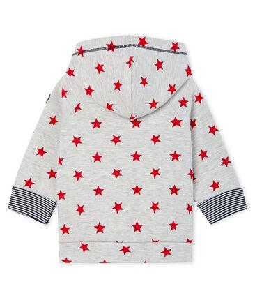 Sweatshirt met capuchon van mesh met print babyjongen grijs Beluga / rood Terkuit