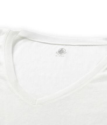 Tee-shirt manches courtes col V femme blanc Ecume