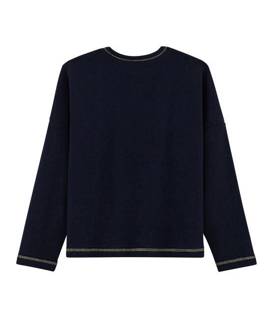 T-shirt met opdruk meisjes blauw Smoking