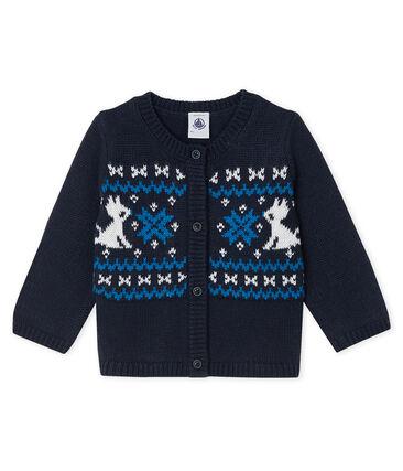 Cardigan van wol en katoen voor jongens blauw Smoking / wit Multico
