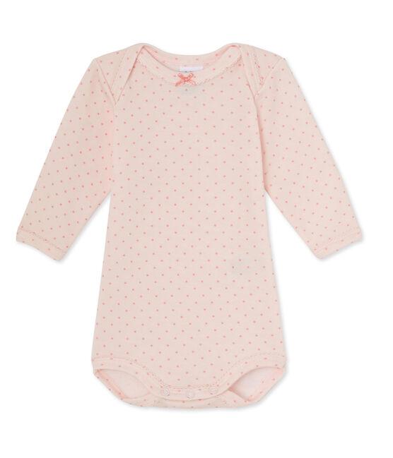 Body bébé fille manches longues laine et coton rose Vienne / rose Gretel