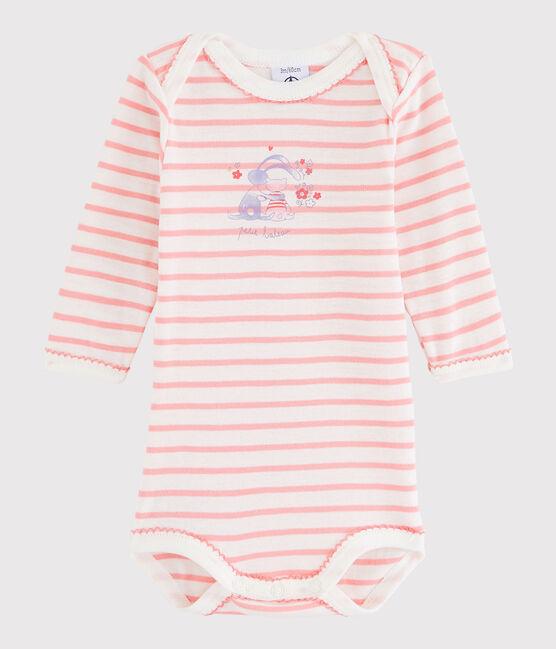 Body manches longues bébé fille blanc Lait / rose Gretel