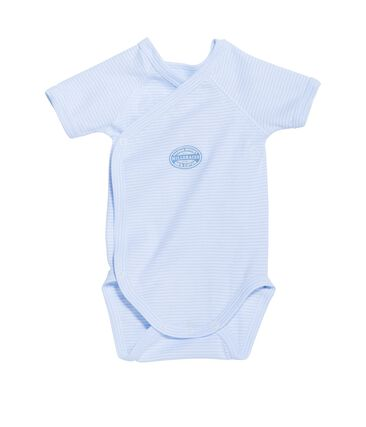 Body naissance garçon manches courtes à milleraies bleu Fraicheur / blanc Ecume