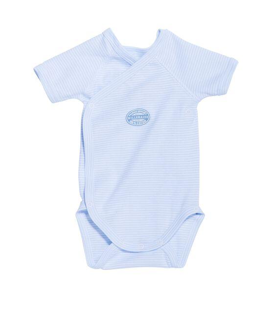 Eerste body met korte mouwen en milleraies-strepen voor jongens blauw Fraicheur / wit Ecume