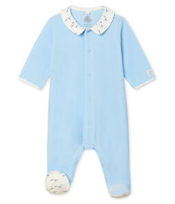 Fluwelen slaappakje babyjongen blauw Toudou
