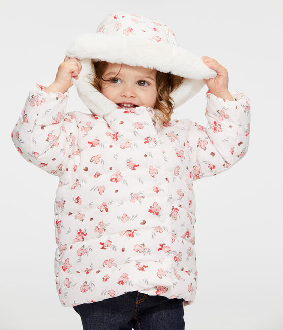 Donsjack van microvezel met print babymeisje roze Fleur / wit Multico