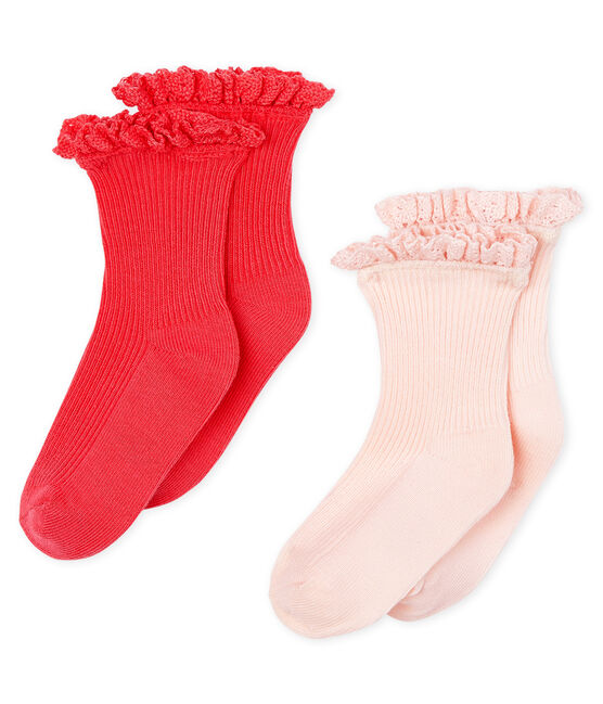 Lot de 2 paires de chaussettes dentelle bébé fille rose Groseiller