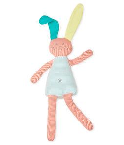 Knuffel konijn van gebreide stof oranje Coral / wit Marshmallow