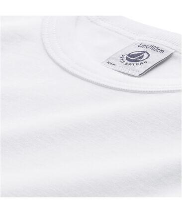 Effen jongens-T-shirt met lange mouwen wit Lait