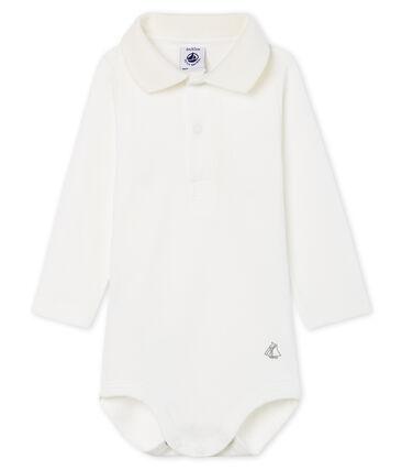 Body met lange mouwen en polokraag babyjongen wit Marshmallow