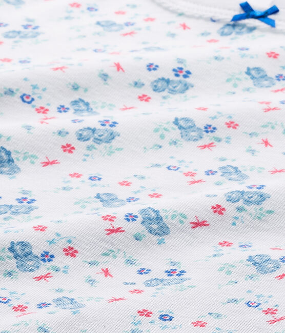 T-shirt fille imprimé blanc Ecume / bleu Bleu