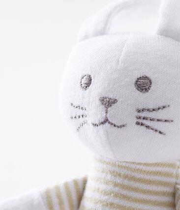 Doudou lapin bébé en jersey beige Perlin / blanc Marshmallow