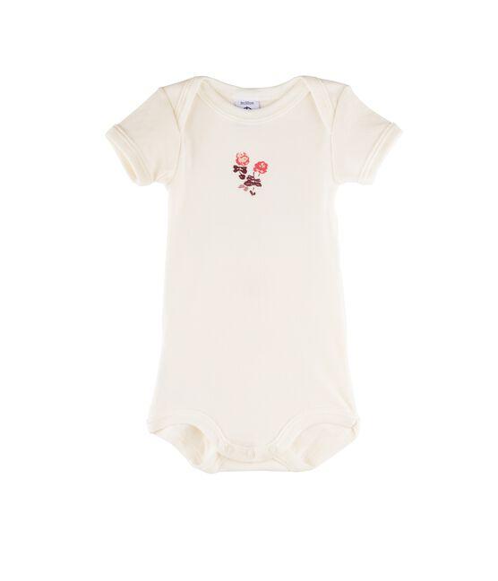 Rompertje met korte mouwen babyjongen wit Marshmallow / roze Flashy
