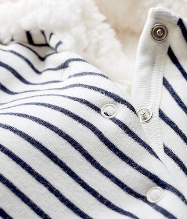 Lang babypakje van gebreide gewatteerde stof wit Marshmallow / blauw Smoking