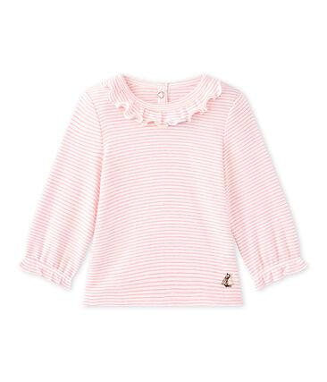 Gestreept T-shirt voor babymeisjes wit Marshmallow / roze Petal