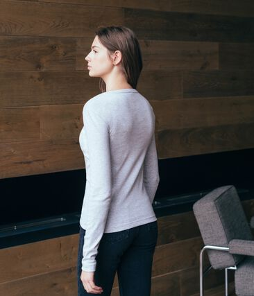 Tee shirt manches longues iconique femme gris Beluga