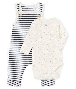 Set van 2 items babyjongen van gebreide stof wit Marshmallow / blauw Smoking