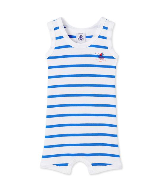 Combicourt bébé garçon rayé blanc Ecume / bleu Delphinium