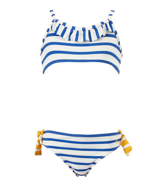 Meisjesbikini wit Marshmallow / blauw Perse