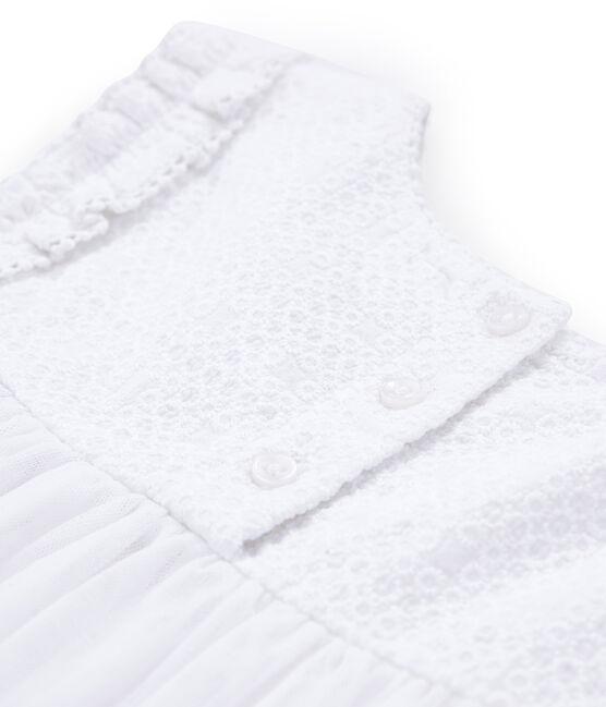 Robe de cérémonie enfant fille blanc Ecume / jaune Or