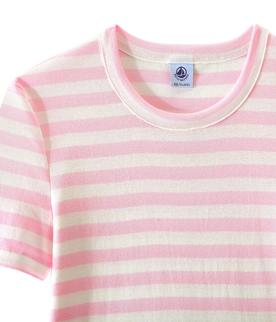 T-shirt femme en côte originale rayée rose Babylone / blanc Marshmallow