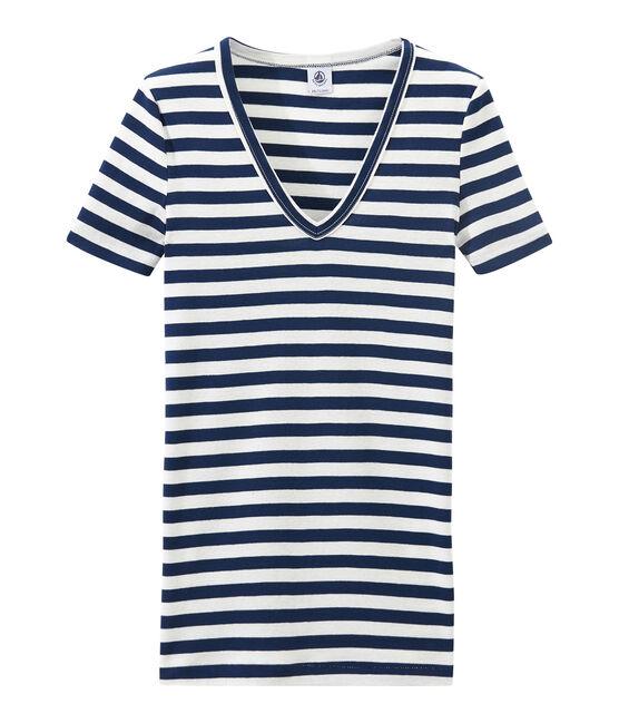 Gestreept dames-T-shirt met V-hals in origineel geribd katoen blauw Medieval / wit Marshmallow
