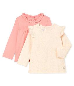 Set van 2 T-shirts met lange mouwen babymeisje