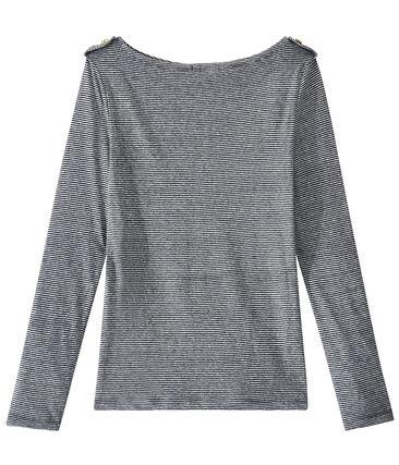 Linnen dames-T-shirt met lange mouwen en streepjes blauw Smoking / wit Lait