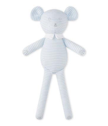 Teddybeer met milleraies-strepen blauw Fraicheur / wit Ecume
